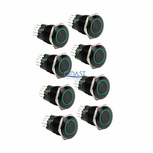 8x Durable 12v 25mm Car Push Button Green Angel Eye Led Momentary Light Switch