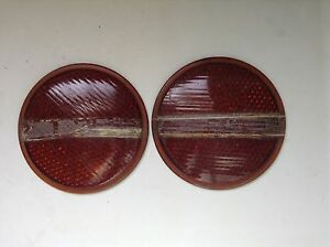 Vintage Pair Nos Do Ray Tiger Ey Amber Brown Glass Lens 4 15 16 Reflectors