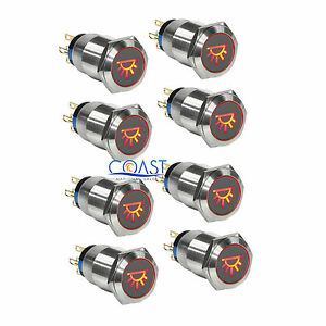 8x Durable 12v 19mm Car Push Latching Button Red Dome Light Led Metal Switch