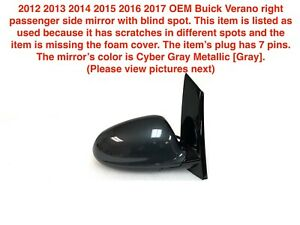 2012 2016 Buick Verano Right Side Mirror With Blind Spot cyber Gray 8