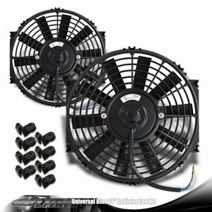 2x Black 14 High Performance Electric Cooling Pull Slim Radiator Fan For Dodge