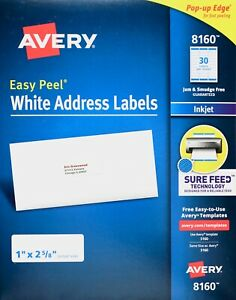 Avery 8160 White Address Labels Inkjet Easy Peel Pop up Edge 1 X 2 5 8