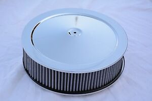 14 X 4 Chrome Round Washable Air Cleaner Filter Street Rod Muscle Car Chevy Ford