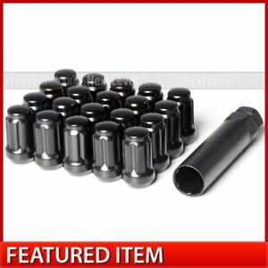 20 Black Spline Drive Tuner Lug Nut 12x1 25 Fit Rota Drag Enkei Rays Volk Wheels