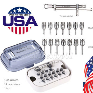 Dental Implant Torque Wrench Ratchet 10 70ncm With Wrench 14pcs Drivers Kit