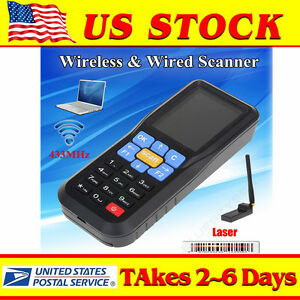 Handheld 433mhz Wireless Ean13 Upc a e Barcode Scanner Data Obm Inventory System
