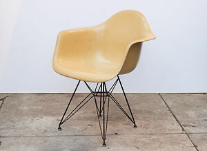Eames Molded Fiberglass Armchair In Butterscotch On Black Eiffel Base