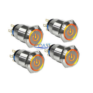 4x Durable 12v 19mm Car Push Latching Button Amber Power Led Metal Switch