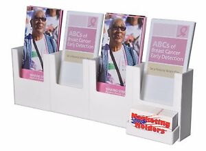 Four Pocket Wall Mount Brochure Holder Attached Card Holder White Acrylic
