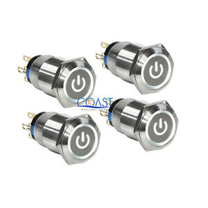 4x Durable 12v 19mm Car Push Latching Button White Power Led Metal Switch