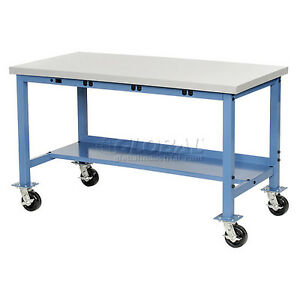 72 w X 36 d Mobile Production Workbench With Power Apron Esd Square Edge