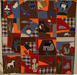 Vibrant Vintage Folk Art Wool Crazy Quilt People Animals Log Cabin