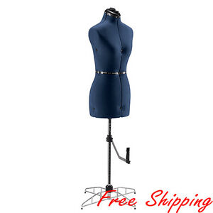 Singer Adjustable Dress Form Sewing Small medium Female Mannequin Torso Blue