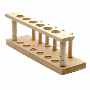 6 hole 20mm pure Wooden Test Tube Rack Holder lab Burette Stand Not paint