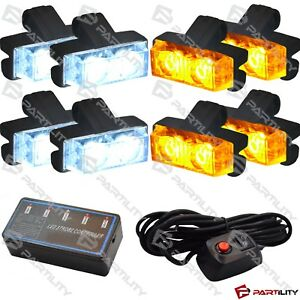 16 Led White Amber Light Grill Construction Utility Warning Strobe Flash Hazard