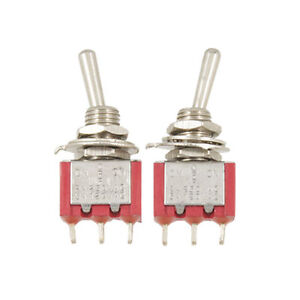 2pcs Single Pole Double Throw On off on Mini Toggle Switch