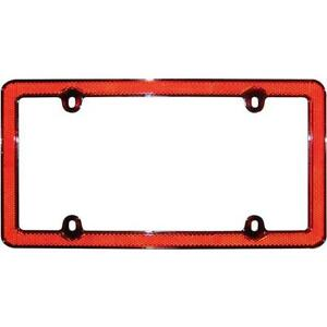 Cruiser Accessories License Plate Frame Red Reflector Ii Chrome Red 30436