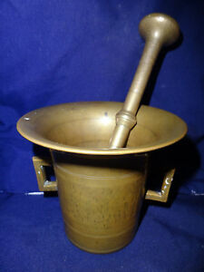 Antique English 18th Century Apothecary Brass Mortar Pestle