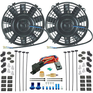 Dual 6 Inch 12v Electric Fan 3 8 Npt Ground Thermostat Switch Dirt Car Rat Rod
