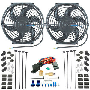 Dual 10 Inch 12 Volt Electric Radiator Cooling Fans Thermostat Relay Switch Kit