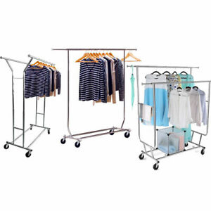 Single double 250lb Rail Portable Clothes Hanger Rolling Garment Rack Heavy Duty