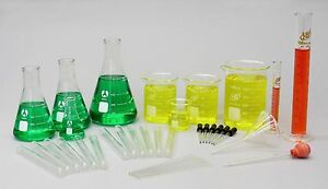 36 Piece Laboratory Glassware Set Science Lab Kit Beakers Cylinders Flasks