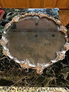 Gorgeous Estate Silverplate Antique Mirrored Plateau 16 Heavy