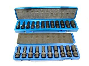 22pc 3 8 Drive Universal Swivel Deep Impact Socket Cr Molybdenum Metric And Sae