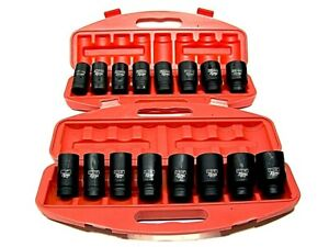 18pc 3 4 Drive Deep Air Impact Sockets Axle Nuts Remover Installer Sae And Mm
