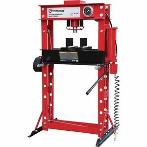 Strongway Air Hydraulic Shop Press With Gauge And Winch 40 Ton Capacity