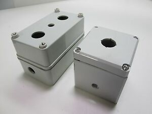 Lot Of Non metallic Gray Electrical Switch Pushbutton Control Enclosures holes