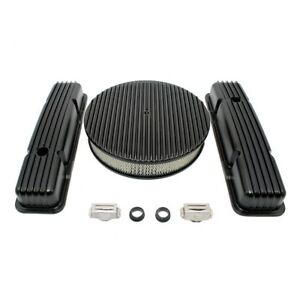 58 86 Sbc Chevy 350 Black Full Fin Aluminum Valve Covers 14 Round Air Cleaner