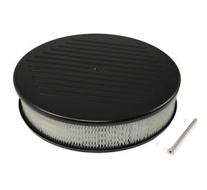 14 X 3 Ball Milled Machined Black Aluminum Top Round Air Cleaner W Element