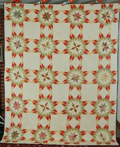 Vintage Pre Civil War Touching Stars Antique Quilt Very Early Fabrics