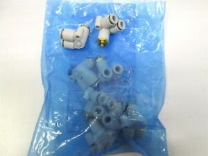 Lot Of 8 New Smc Kq2lu06 m5 Pneumatic Double Branch Elbow Air Fittings 6mm Tube