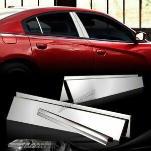 6pcs Stainless Polish Chrome Door Pillar Post Covers For 2011 2015 Dodge Charger