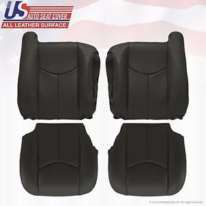 2003 To 06 Gmc Sierra 1500 2500 3500 Hd Upholstery Leather Seat Cover Dark Gray