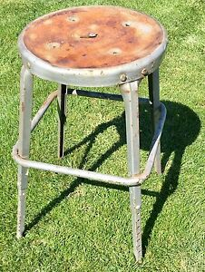 Vintage Industrial Metal Adjustable Work Stool Machine Shop Machinist Chair Mcm