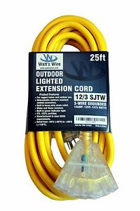 25ft Heavy Duty 12 Gauge Lighted 3 Outlet Extension Cord 25 12 3 Outdoor Sjtw