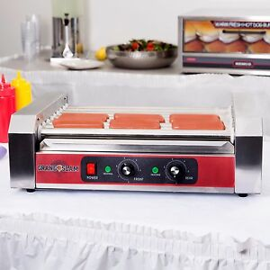 24 Hotdog Roller Commercial Hot Dog 9 Roller Grill Cooker Machine Non Stick