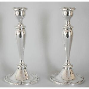Stunning Fine Melrose 1381 By Gorham Repousse Sterling Silver Pair Candlesticks