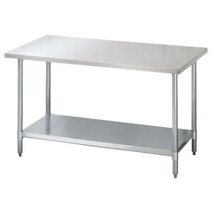 Turbo Air Tsw 3096 s 96 inch Stainless Steel Work Table With Galvanized Shelf