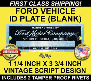 Ford Serial Number Plate Model A T Data Tag 1 1 4 X3 3 4 Vehicle Id Vin U S A