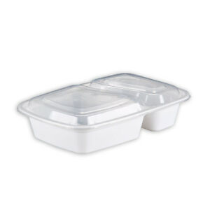 Safepro 32 Oz 2 compartment Rectangular Microwaveable Containers Combo White