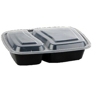Safepro 32 Oz 2 compartment Rectangular Microwaveable Containers Combo Black B