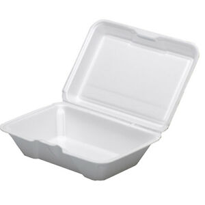 Dart 205ht1 9x6x3 inch Performer White Single Compartment Foam Container With A