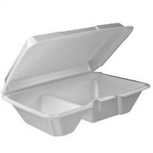 Dart 205ht2 9x6x3 inch Performer White Two Compartment Foam Container With A Re