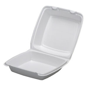 Dart 85ht1r 8x8x3 inch Performer White Single Compartment Foam Container With A