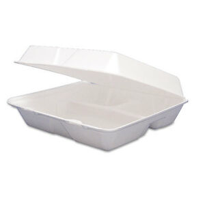 Dart 85ht3r 8x8x3 inch Performer White Three Compartment Foam Container With A