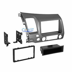 Car Radio Stereo Single Double Din Taupe Dash Kit For 2006 2011 Honda Civic